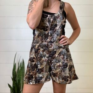 Free People Velvet Floral Overalls